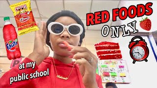 I ONLY ATE RED FOOD FOR 24 HOURS CHALLENGE! (at my public school) 🤮