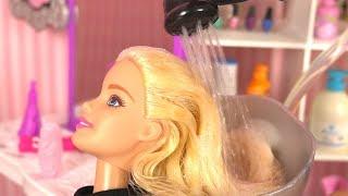 Barbie Doll Hair Salon ✤ Hair Cut and wash, Hair Color, Crimp and Style