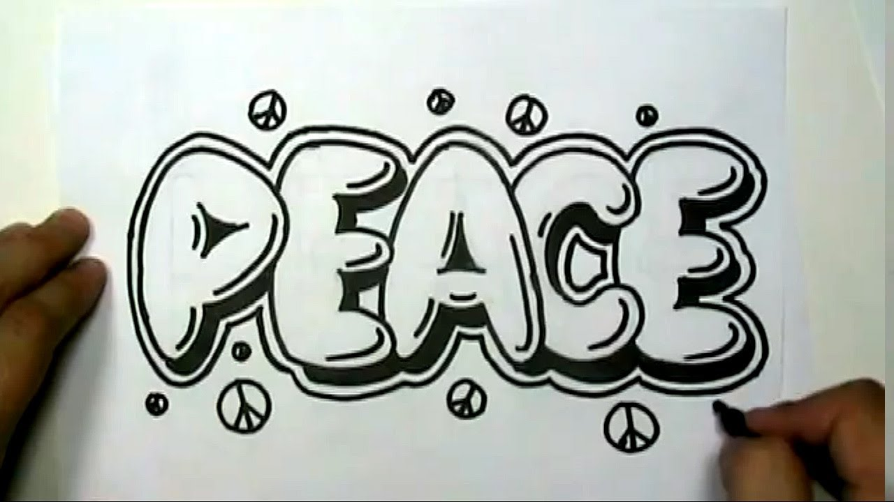 How to draw PEACE in Graffiti Letters - Write Peace in ...