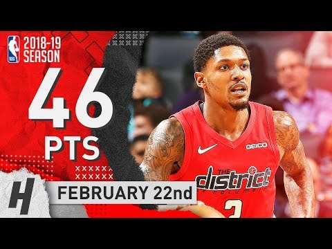 Bradley Beal Full Highlights Wizards vs Hornets 2019.02.22 - 46 Points!
