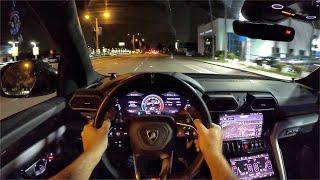 2020 Lamborghini Urus POV Night Drive (3D Audio)(ASMR)