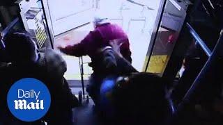 Shocking clip shows woman pushing elderly man from Las Vegas bus