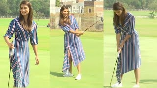 Pooja Hegde Tries Her Hand Playing Golf..