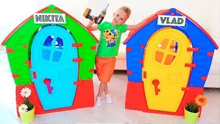 Nikita Play with Balls | Kids ride on toy cars and play with Mom