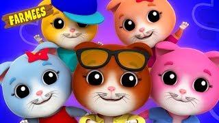 Five Little Kittens | Nursery Rhymes Songs For Children | Kids Song Playlist by Farmees