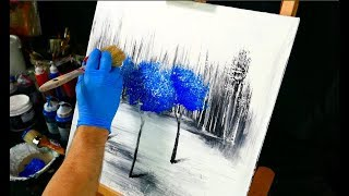 3 blue trees on black and white ice - painting video step by step demo -  fan brush and round brush