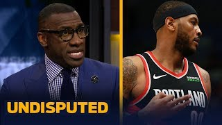 Shannon Sharpe reacts to Carmelo Anthony's debut for the Trail Blazers | NBA | UNDISPUTED