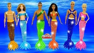 Barbie Mermaids Play Doh Dress Up 🧜♀️ Making Sparkle Mermaid Dresses for Dolls