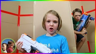 Girls Take Over Boys Box Fort Nerf Battle!