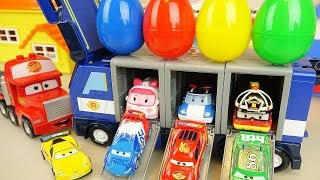 Poli trailer surprise eggs and Cars truck car toys play