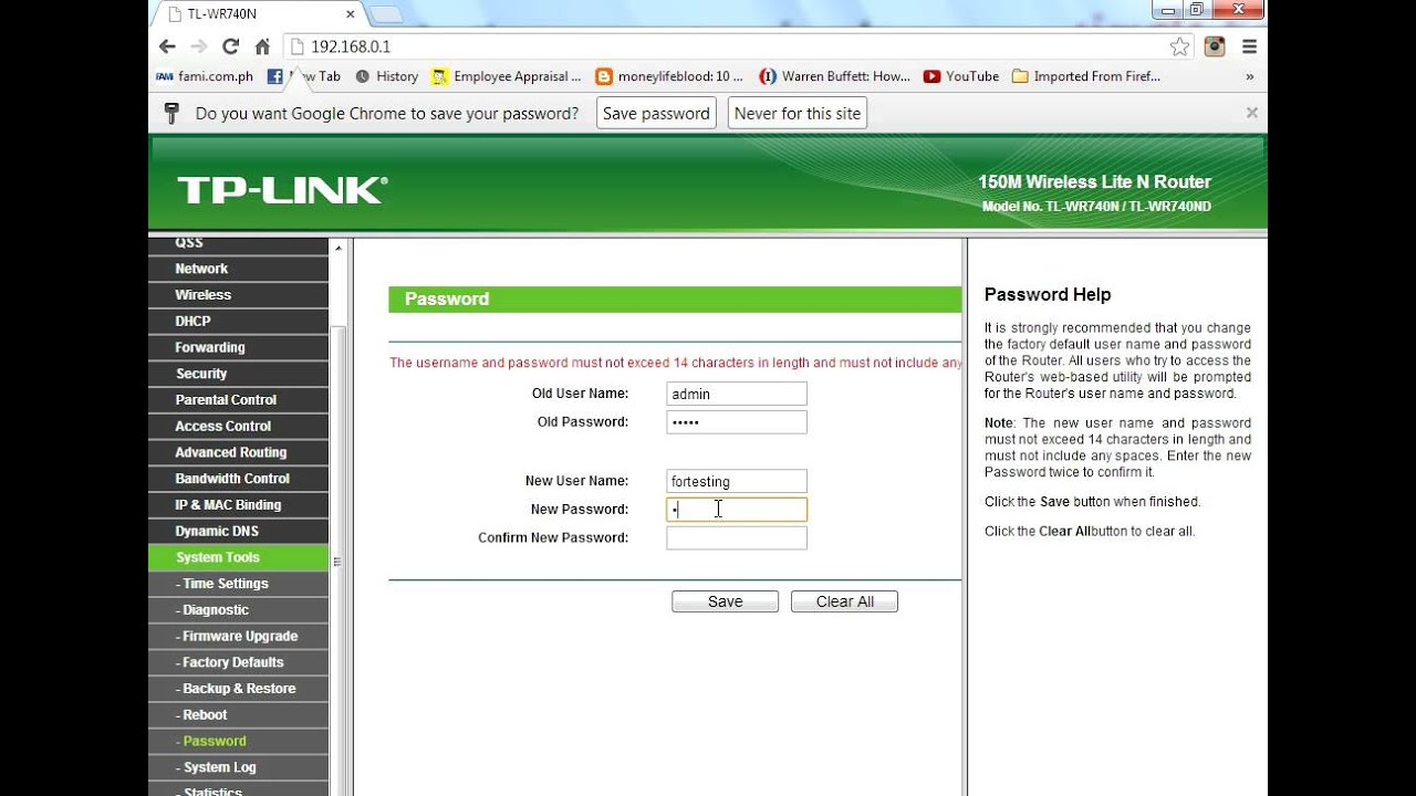 How to change tp link routers password