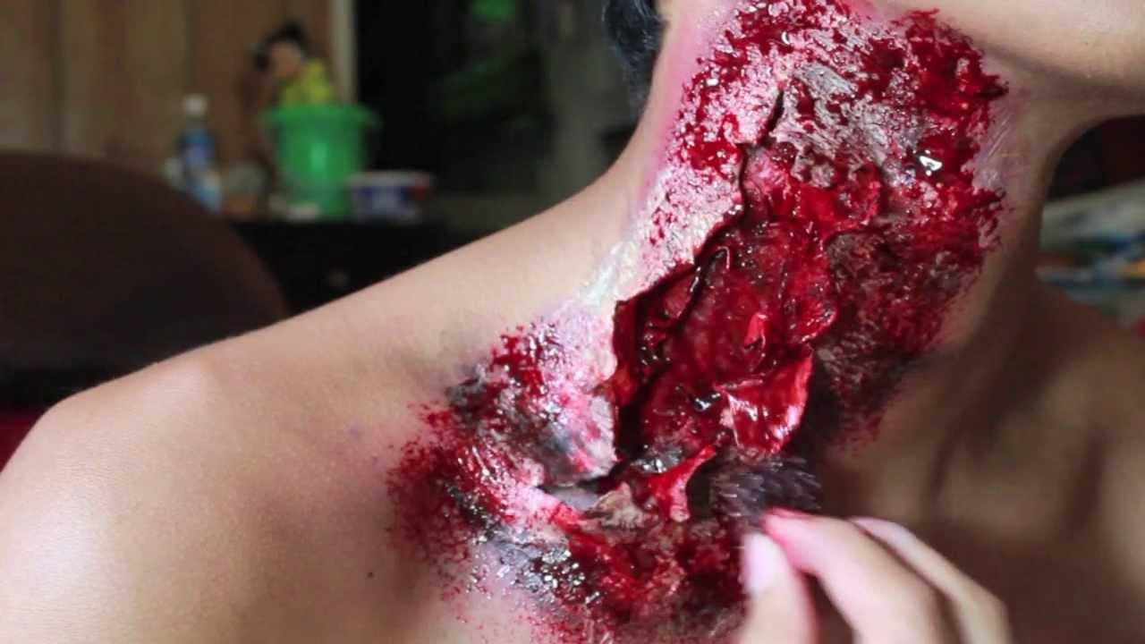 Zombie Neck Wound Tutorial Youtube