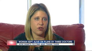 Woman kept alive on plane by three doctors