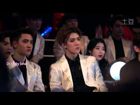 EXO x IU Watching GDxTaeyang Good Boy MAMA2014