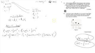 Mechanical Engineering HNC Exam 2017 Q3 (Fluids, Bernoulli, Energy, Momentum)