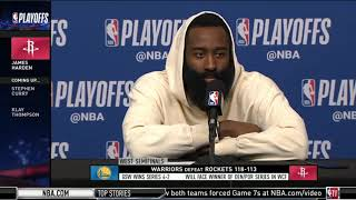 James Harden Disappointed Interview: Rockets LOSS TO Warriors 113-118; Curry: 23/33-pt in 4rd