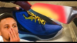1000 Degree GLOWING Knife Experiment Vs Stephen Curry Shoes