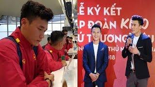 Thủ môn Bùi Tiến Dũng và tiền vệ Quang Hải U23 cùng đội tuyển Việt Nam lên đường sang Jordan
