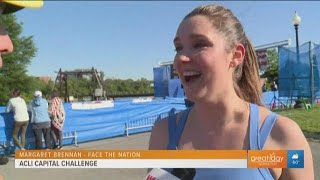 Face the Nation host and new mom, Margaret Brennan finishes ACLI 5K with a smile