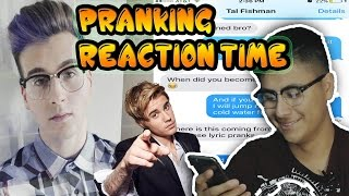 Pranking YOUTUBER with Justin bieber 'Cold water' Reaction Time