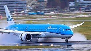 Reverse thrust, JUST AMAZING on a wet runway, A380, B747, B777, B787, A330