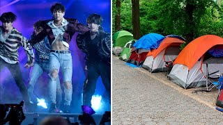 Fans camp out a week for BTS Central Park concert