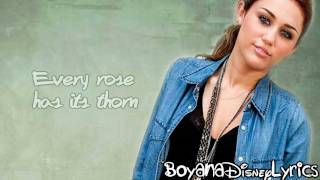 Miley Cyrus - Every Rose Has Its Thorn (Lyrics Video) HD