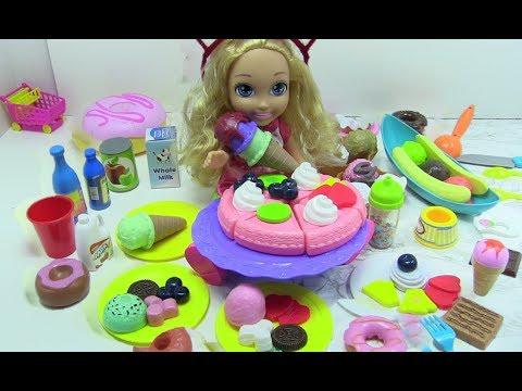 Búp bê ăn bánh kem -  MỞ 2 BỘ ĐỒ CHƠI CAKE PLAYSET VÀ ICE CREAM PLAYSET (chị bí đỏ)
