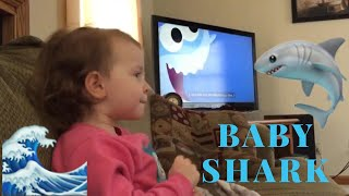 Two year old sings Baby Shark