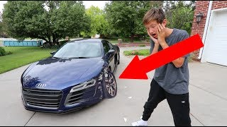 INSANE KID CRASHES DAD'S AUDI R8 ON FATHERS DAY!