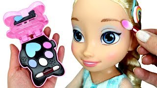 Elsa Doll Makeup Makeover with Clementoni Crazy Chic Cat Makeup Set Play Doh Rainbow Ice Cream Cone
