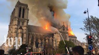 Notre Dame fire: Firefighters battle blaze as night falls in Paris