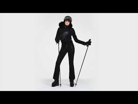 Goldbergh Empress Womens Ski Jumpsuit in Black - Saga Fur Trim