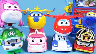 Robocar Poli SuperWings Tobot and gas station toys