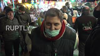 Italy: Football fans light flares in mourning of Napoli star player Diego Maradona