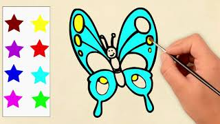 Learn Colors🎨 With Butterfly's & Paints Drawings, Great Kids Videos
