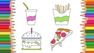 Food Coloring Pages | Fast Food Coloring Pages for Kids | Amazing Kids