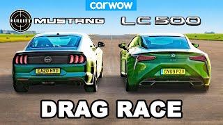 Ford Mustang v Lexus LC500 - V8 DRAG RACE