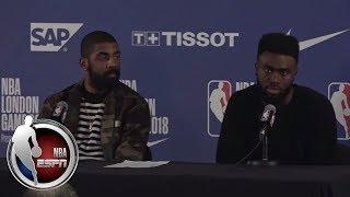 Jaylen Brown jokes on Kyrie Irving saying 'I'm sick of you' | ESPN