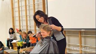 Girl shaves head for 'Balding for Dollars'