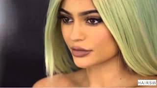 Kylie Jenner Long Green Lace Front Wig