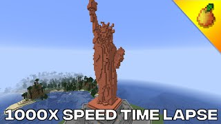 Minecraft Copper Statue Of Liberty Time Lapse (1000x speed)