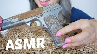 DARK Chocolate Pistol & Handcuffs | ASMR *No Talking Soft Eating Sounds | N.E Let's