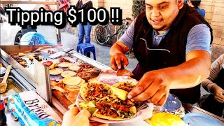 Mexican Street Food - Tipping $100 Dollars In Mexico - Real Tacos On The Streets Of MEXICO!!