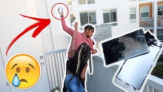I THREW MY LITTLE SISTER IPHONE Xs OFF THE BALCONY!! **EMOTIONAL**