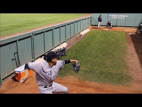 Tanaka masahiro pitching(田中将大投球練習) @New york yankees