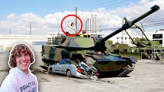 Driving Tank Over a Car!