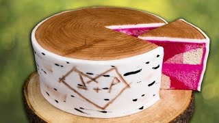 How to Make a Birch Bark Log Cake w/ Hidden Pink Camouflage