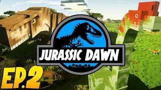 FINDING DINO FOSSILS?!   Jurassic Dawn (Minecraft Modded Survival)   Ep. 2