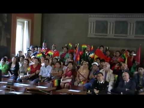 El presidente del Estado Plurinacional de Bolivia, Evo Morales Ayma en Bergamo - Italia